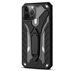 Apple iPhone 12 Pro用ハイブリットバンパーケース スタンド プラスチック 兼シリコーン カバー R01 アップル ブラック