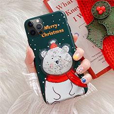 Apple iPhone 12 Pro用シリコンケース ソフトタッチラバー クリスマス カバー アップル グリーン