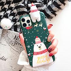 Apple iPhone 12 Pro用シリコンケース ソフトタッチラバー クリスマス カバー S02 アップル グリーン