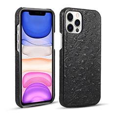 Apple iPhone 12 Pro用ケース 高級感 手触り良いレザー柄 R02 アップル ブラック