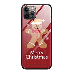 Apple iPhone 12 Pro用ハイブリットバンパーケース プラスチック パターン 鏡面 カバー クリスマス アップル ワインレッド