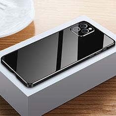 Apple iPhone 12 Pro用ケース 高級感 手触り良い アルミメタル 製の金属製 360度 フルカバーバンパー 鏡面 カバー T03 アップル ブラック