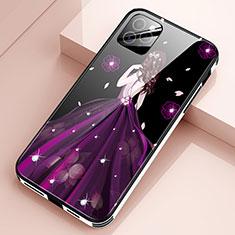 Apple iPhone 12 Pro用ハイブリットバンパーケース プラスチック ドレスガール ドレス少女 鏡面 カバー アップル パープル