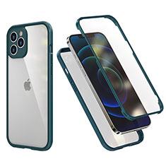 Apple iPhone 12 Pro用ハイブリットバンパーケース プラスチック 兼シリコーン カバー 前面と背面 360度 フル R05 アップル モスグリー