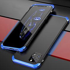 Apple iPhone 12 Pro用ケース 高級感 手触り良い アルミメタル 製の金属製 カバー T02 アップル ネイビー・ブラック