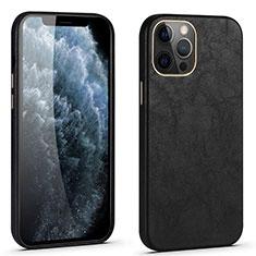 Apple iPhone 12 Pro用ケース 高級感 手触り良いレザー柄 R06 アップル ブラック