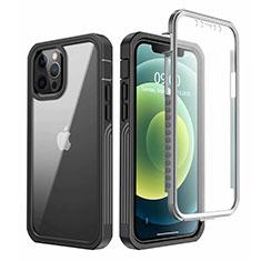 Apple iPhone 12 Pro用360度 フルカバーハイブリットバンパーケース クリア透明 プラスチック 鏡面 アップル ブラック