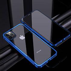 Apple iPhone 12 Pro用ケース 高級感 手触り良い アルミメタル 製の金属製 360度 フルカバーバンパー 鏡面 カバー T06 アップル ネイビー