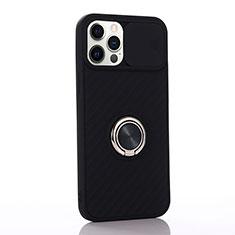 Apple iPhone 12 Pro用極薄ソフトケース シリコンケース 耐衝撃 全面保護 アンド指輪 マグネット式 バンパー T01 アップル ブラック