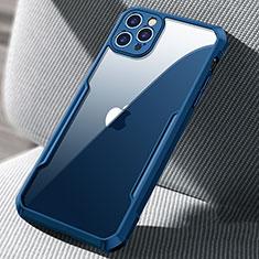 Apple iPhone 12 Pro用ハイブリットバンパーケース クリア透明 プラスチック 鏡面 カバー H03 アップル ネイビー
