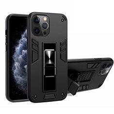 Apple iPhone 12 Pro用ハイブリットバンパーケース スタンド プラスチック 兼シリコーン カバー マグネット式 H01 アップル ブラック