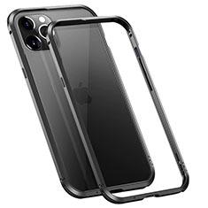 Apple iPhone 12 Pro用ケース 高級感 手触り良い アルミメタル 製の金属製 バンパー カバー T02 アップル ブラック