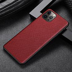Apple iPhone 12 Pro用ケース 高級感 手触り良いレザー柄 R07 アップル レッド