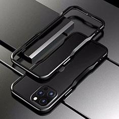 Apple iPhone 12 Pro用ケース 高級感 手触り良い アルミメタル 製の金属製 バンパー カバー T03 アップル ブラック