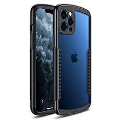 Apple iPhone 12 Pro用ハイブリットバンパーケース クリア透明 プラスチック 鏡面 カバー H01 アップル ブラック