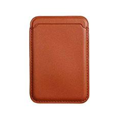 Apple iPhone 12 Pro用高級感 レザーウォレット - ブラック Mag-Safe 磁気 Magnetic アップル ブラウン