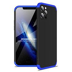 Apple iPhone 12 Pro用ハードケース プラスチック 質感もマット 前面と背面 360度 フルカバー アップル ネイビー・ブラック