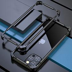 Apple iPhone 12 Pro用ケース 高級感 手触り良い アルミメタル 製の金属製 バンパー カバー N03 アップル ブラック