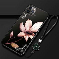 Apple iPhone 12 Pro用シリコンケース ソフトタッチラバー 花 カバー アップル ブラウン