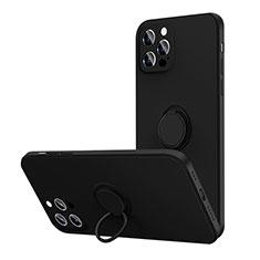 Apple iPhone 12 Pro用極薄ソフトケース シリコンケース 耐衝撃 全面保護 アンド指輪 マグネット式 バンパー N01 アップル ブラック