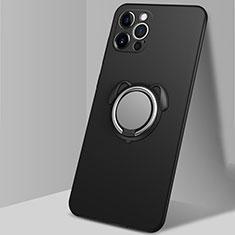 Apple iPhone 12 Pro用極薄ソフトケース シリコンケース 耐衝撃 全面保護 アンド指輪 マグネット式 バンパー N02 アップル ブラック