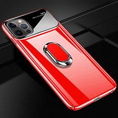 Apple iPhone 12 Pro用ハードケース プラスチック 質感もマット アンド指輪 マグネット式 A01 アップル レッド