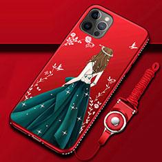 Apple iPhone 12 Pro用シリコンケース ソフトタッチラバー バタフライ ドレスガール ドレス少女 カバー アップル マルチカラー