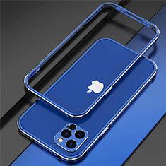 Apple iPhone 12 Pro用ケース 高級感 手触り良い アルミメタル 製の金属製 バンパー カバー N02 アップル ネイビー