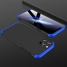Apple iPhone 12 Pro用ハードケース プラスチック 質感もマット 前面と背面 360度 フルカバー M01 アップル ネイビー・ブラック