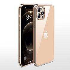 Apple iPhone 12 Pro用極薄ソフトケース シリコンケース 耐衝撃 全面保護 クリア透明 N01 アップル ゴールド