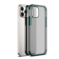 Apple iPhone 12 Pro Max用ハイブリットバンパーケース クリア透明 プラスチック 鏡面 カバー アップル グリーン