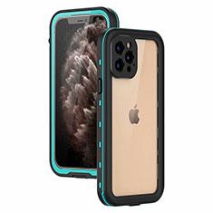 Apple iPhone 12 Pro Max用完全防水ケース ハイブリットバンパーカバー 高級感 手触り良い 360度 アップル シアン