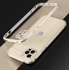 Apple iPhone 12 Pro Max用ケース 高級感 手触り良い アルミメタル 製の金属製 バンパー カバー N01 アップル ゴールド