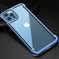 Apple iPhone 12 Pro Max用ケース 高級感 手触り良い アルミメタル 製の金属製 バンパー カバー N04 アップル ネイビー