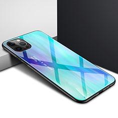Apple iPhone 12 Pro Max用ハイブリットバンパーケース クリア透明 プラスチック 鏡面 カバー N01 アップル シアン