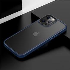 Apple iPhone 12 Pro Max用ハイブリットバンパーケース プラスチック 兼シリコーン カバー N01 アップル ネイビー