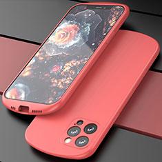 Apple iPhone 12 Pro Max用360度 フルカバー極薄ソフトケース シリコンケース 耐衝撃 全面保護 バンパー N01 アップル レッド