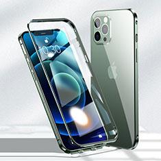 Apple iPhone 12 Pro Max用ケース 高級感 手触り良い アルミメタル 製の金属製 360度 フルカバーバンパー 鏡面 カバー N01 アップル グリーン