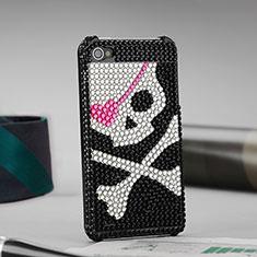 Apple iPhone 4用ケース ダイヤモンドスワロフスキー 頭蓋骨 アップル ブラック