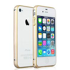Apple iPhone 4用ケース 高級感 手触り良い アルミメタル 製の金属製 バンパー アップル ゴールド