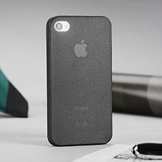 Apple iPhone 4用ソフトケース クリア透明 質感もマット アップル グレー