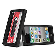 Apple iPhone 4用シリコンケース カセット ソフトタッチラバー アップル ブラック