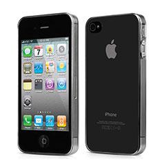 Apple iPhone 4用極薄ソフトケース シリコンケース 耐衝撃 全面保護 クリア透明 アップル グレー