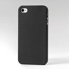 Apple iPhone 4S用ハードケース プラスチック レザー柄 アップル ブラック