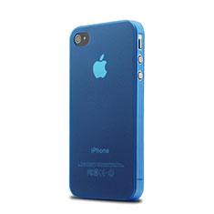 Apple iPhone 4S用ソフトケース クリア透明 質感もマット アップル ネイビー