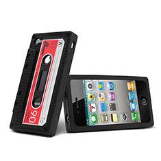 Apple iPhone 4S用シリコンケース カセット ソフトタッチラバー アップル ブラック