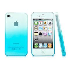 Apple iPhone 4S用ハードケース グラデーション 勾配色 クリア透明 アップル ブルー