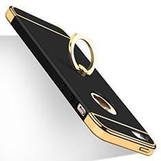 Apple iPhone 5用ケース 高級感 手触り良い メタル兼プラスチック バンパー アンド指輪 アップル ブラック