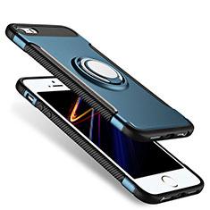 Apple iPhone 5用ハイブリットバンパーケース プラスチック アンド指輪 アップル ネイビー