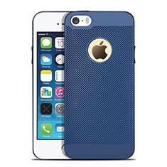 Apple iPhone 5用ハードケース プラスチック メッシュ デザイン アップル ネイビー